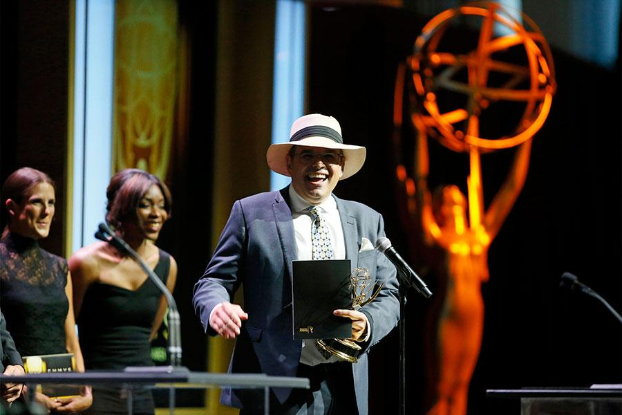 Andres Pruna accepts his award at the 67th Los Angeles Area Emmy Awards July 25, 2015, at the Skirball Cultural Center in Los Angeles, California.