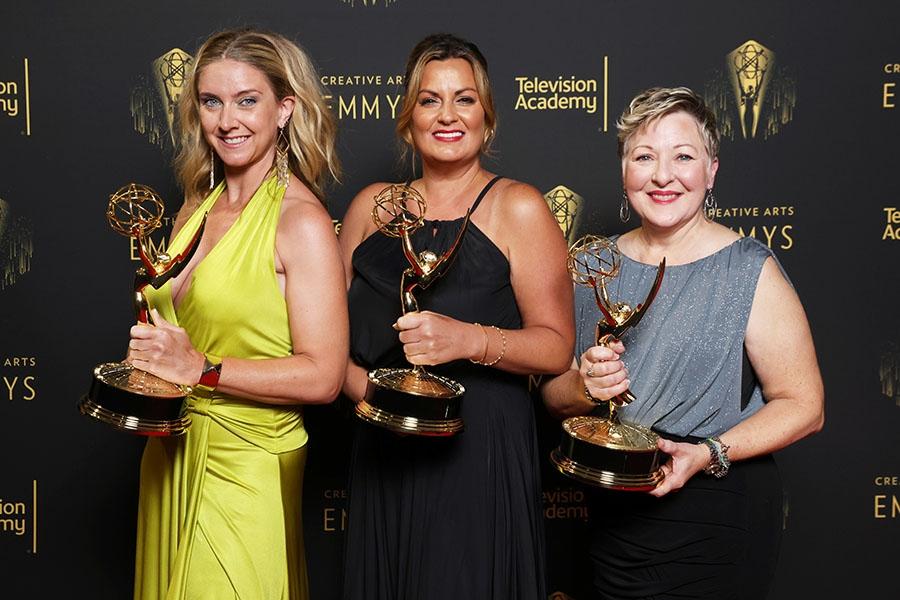 Cara Hannah, Jodi Mancuso, and Inga Thrasher at the 2021 Creative Arts Emmys, September 11, 2021 in Los Angeles, California.