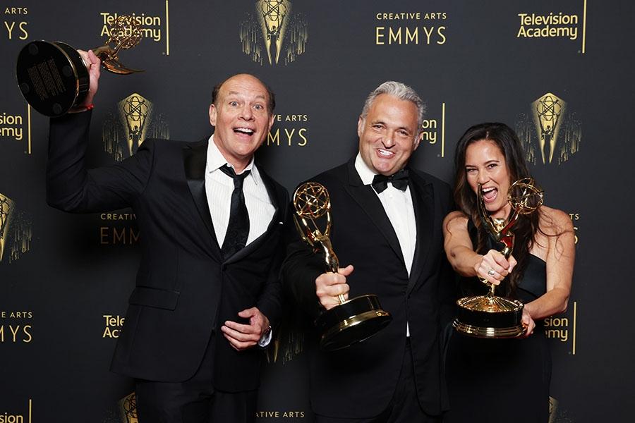 Brian Miller, Genndy Tartakovsky and Shareena Carlson at the 2021 Creative Arts Emmys, September 12, 2021 in Los Angeles, California.