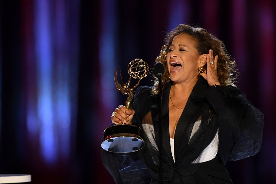 Debbie Allen accepts an award at the 2021 Creative Arts Emmys.