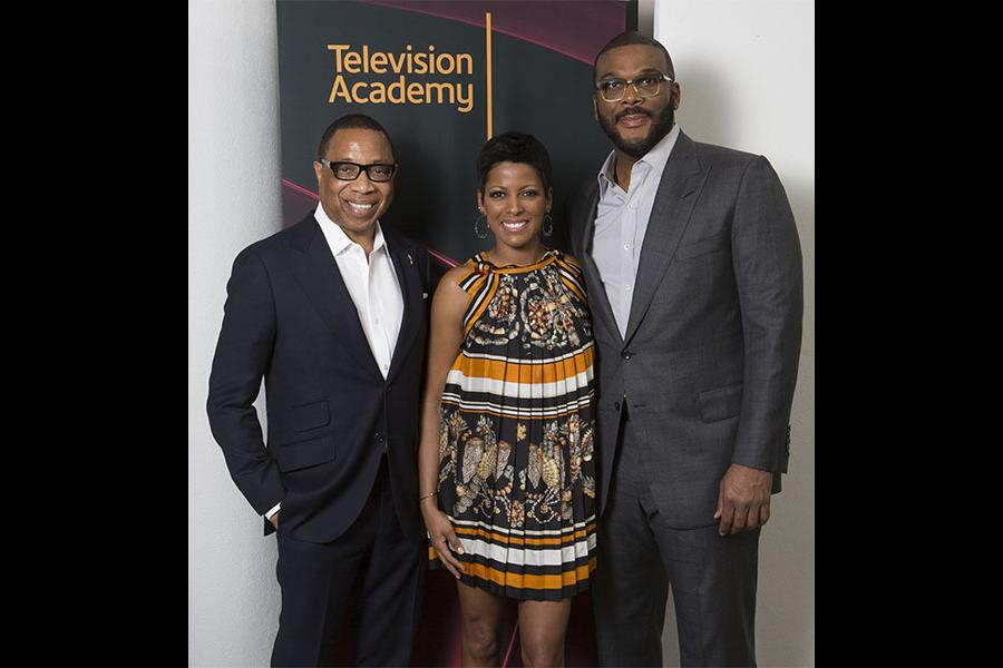 """Television Academy Chairman and CEO Hayma Washington with Tamron Hall and Tyler Perry at the Television Academy's first member event in Atlanta, """"A Conversation with Tyler Perry,"""" at the Woodruff Arts Center on Thursday, May 4, 2017."""