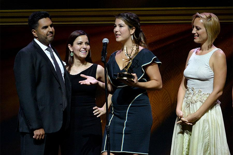 Jorge Caridad, Lorena Dominguez, Carolina Cavaliere, and Sofia Zermoglio onstage at the 67th Los Angeles Area Emmy Awards July 25, 2015, at the Skirball Cultural Center in Los Angeles, California.