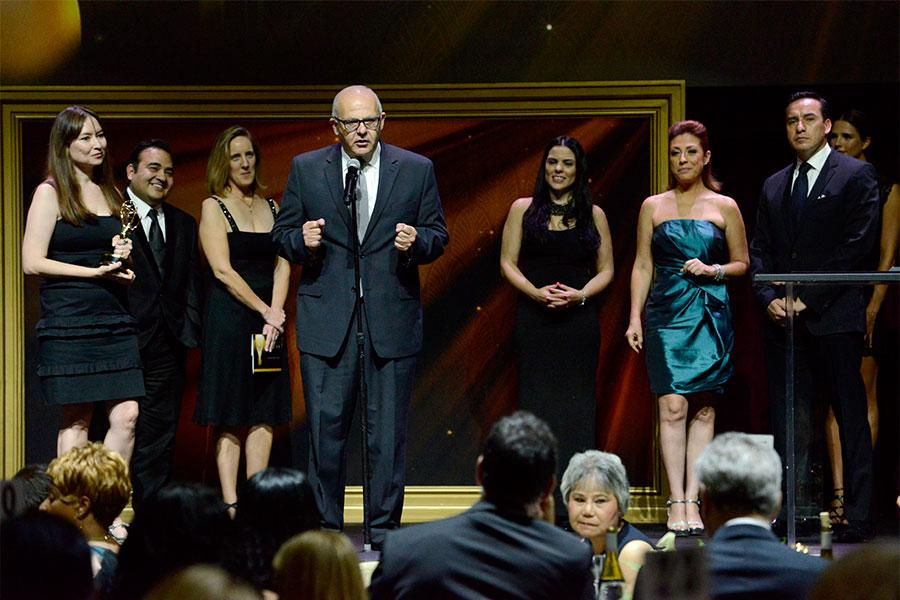 The Telemundo team onstage at the 67th Los Angeles Area Emmy Awards July 25, 2015, at the Skirball Cultural Center in Los Angeles, California.