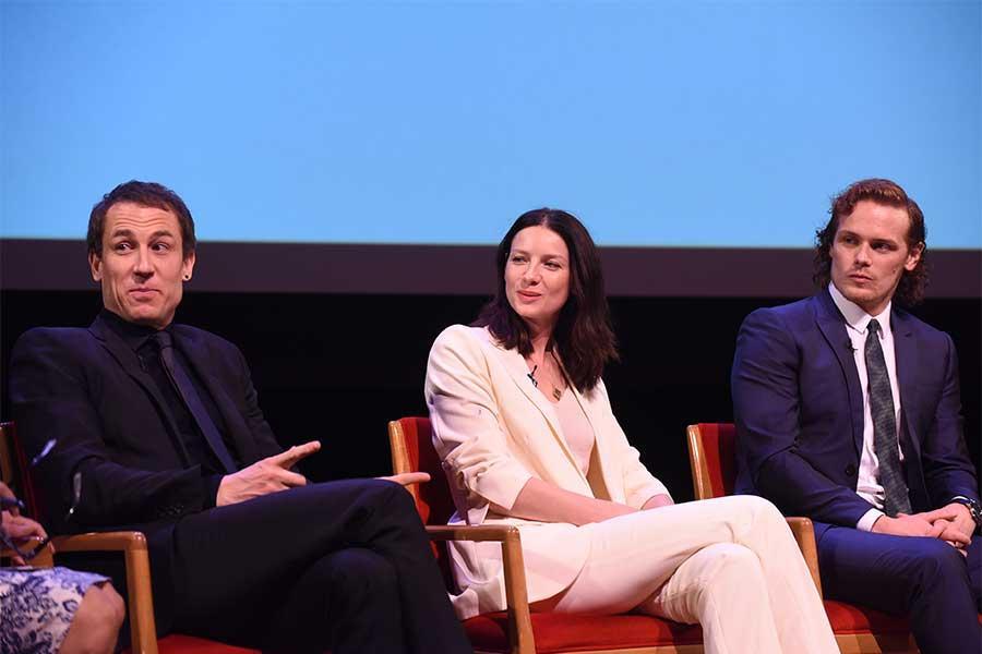 Actors Tobias Menzies, Catriona Balfe, and Sam Heughan on