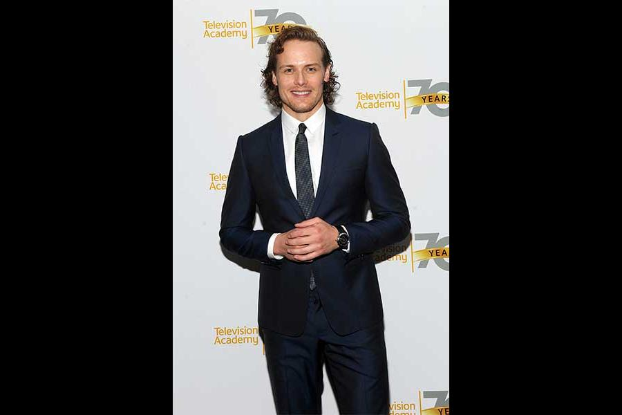 Actor Sam Heughan arrives at the Outlander: From Scotland to Paris event, April 5, 2016, at the NYU Skirball Center for the Performing Arts in New York City.