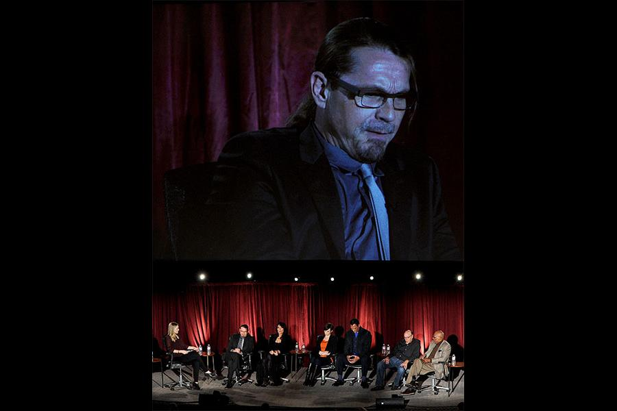 The cast and crew onstage at An Evening with Sons of Anarchy.