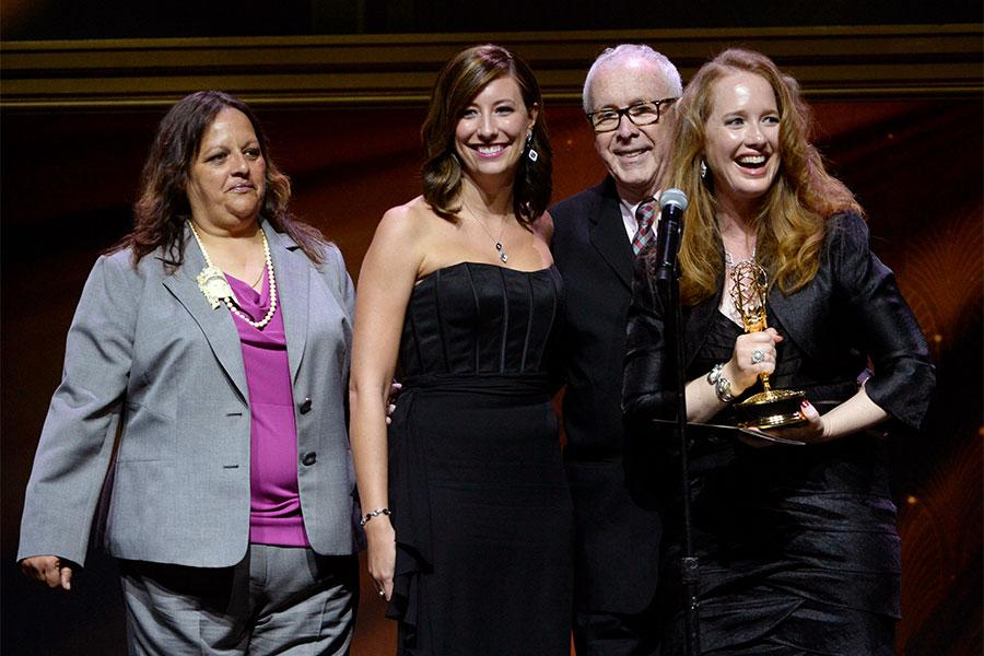 PBS SoCal producers accept an award at the 67th Los Angeles Area Emmy Awards July 25, 2015, at the Skirball Cultural Center in Los Angeles, California.