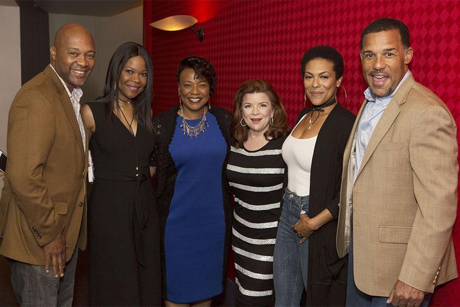 "Palmer Williams, Jr., Angela Robinson, Dr. Bernice A. King, Renee Lawless, April Parker Jones, and Peter Parros at the Television Academy's first member event in Atlanta, ""A Conversation with Tyler Perry,"" at the Woodruff Arts Center on Thursday, May 4, 2"