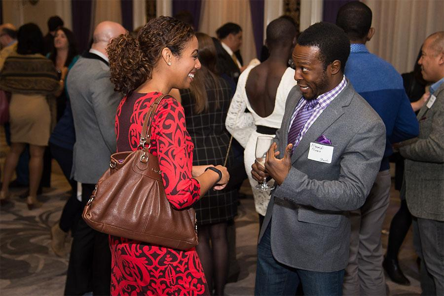 Alisha Laventure and Nnamdi Nwasa at the New York Networking Night Out, November 13, 2015 at the St. Regis in New York City.