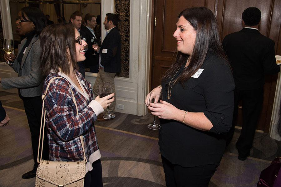 Allyson Barka and Mindy Peretz at the New York Networking Night Out, November 13, 2015 at the St. Regis in New York City.