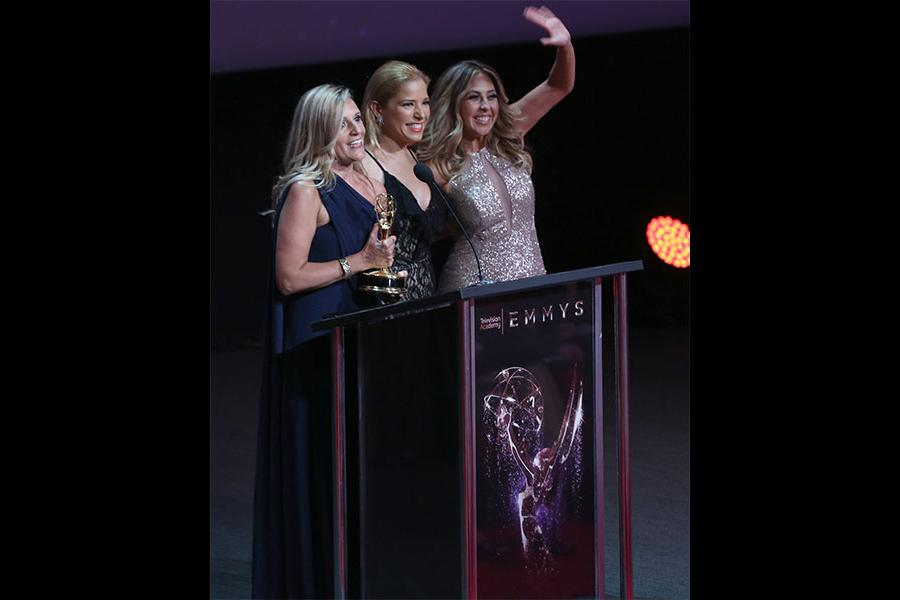 Amaya Pinto Fernandez, Elva Saray, Stephanie Himonidis at the L.A. Area Emmy Awards presented at the Television Academy's Wolf Theatre at the Saban Media Center on Saturday, July 22, 2017, in North Hollywood, California.