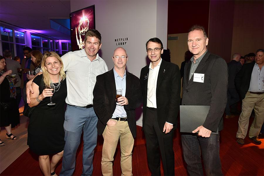 Anika Hayes, Michael Kneely, David raines, Frank Morrone, and Yuri Gorbachow at the Sound Editing and Sound Mixing nominee reception, September 8, 2016 at the Saban Media Center in North Hollywood, California.