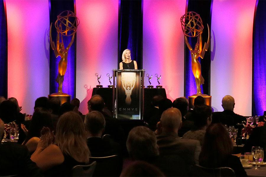 Engineering Awards committee chair Wendy Aylesworth onstage at the 2015 Engineering Emmys at the Loews Hotel in Los Angeles, October 28, 2015.