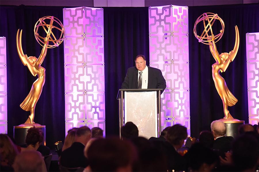 Barry Zegel, Engineering Emmy Awards Committee Chair, speaks at the 69th Engineering Emmy Awards at the Loews Hollywood Hotel on Wednesday, October 25, 2017 in Hollywood, California.