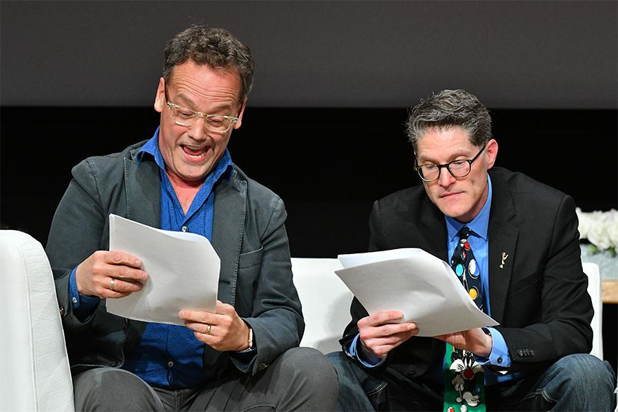 "Dee Bradley Baxter and Bob Bergen perform at ""But the Characters Live On!"" in the Wolf Theatre at the Saban Media Center in North Hollywood, California, March 2, 2017."