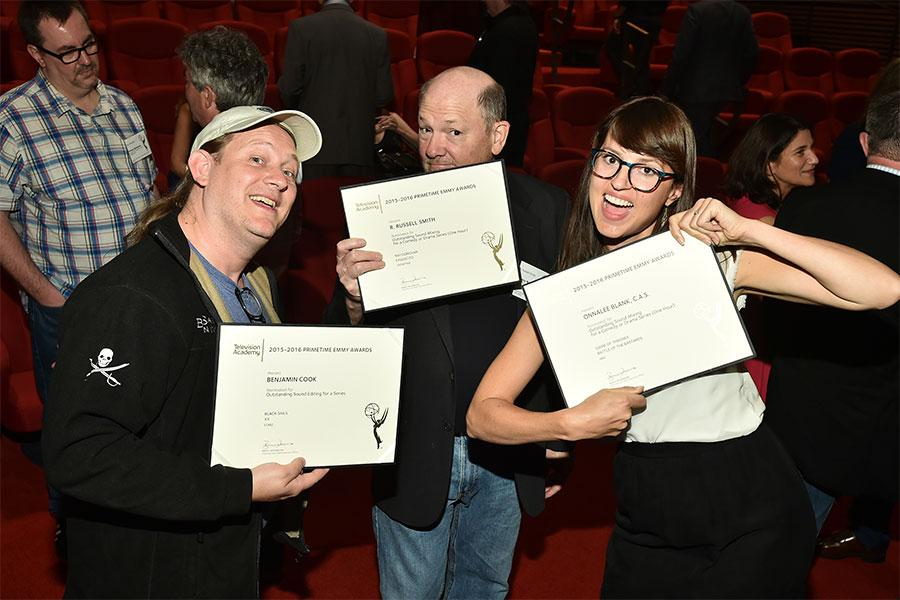 Ben Cook, R. Russell Smith, and Onnalee Blank show off their nomination certificates at the Sound Editing and Sound Mixing nominee reception, September 8, 2016 at the Saban Media Center in North Hollywood, California.