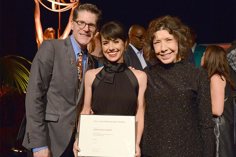 Television Academy governors Lily Tomlin and Bob Bergen with nominee Constance Zimmer at the Performers Nominee Reception, September 16, 2016 at the Pacific Design Center, West Hollywood, California.