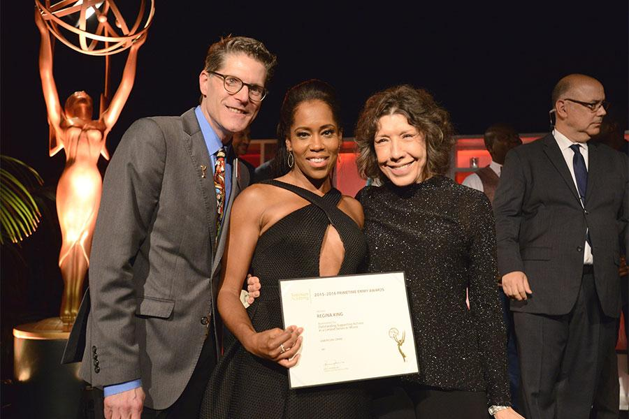 Television Academy governors Lily Tomlin and Bob Bergen with nominee Regina King at the Performers Nominee Reception, September 16, 2016 at the Pacific Design Center, West Hollywood, California.