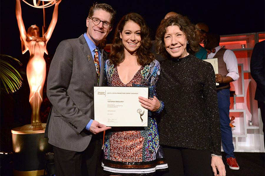 Television Academy governors Lily Tomlin and Bob Bergen with nominee Tatiana Maslany at the Performers Nominee Reception, September 16, 2016 at the Pacific Design Center, West Hollywood, California.