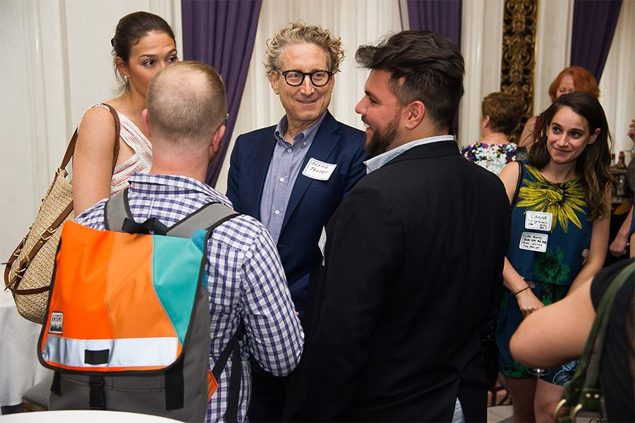 Bernie Telsey chats with colleagues at Networking Night Out NYC! at the St. Regis Hotel in New York City, June 12, 2015.