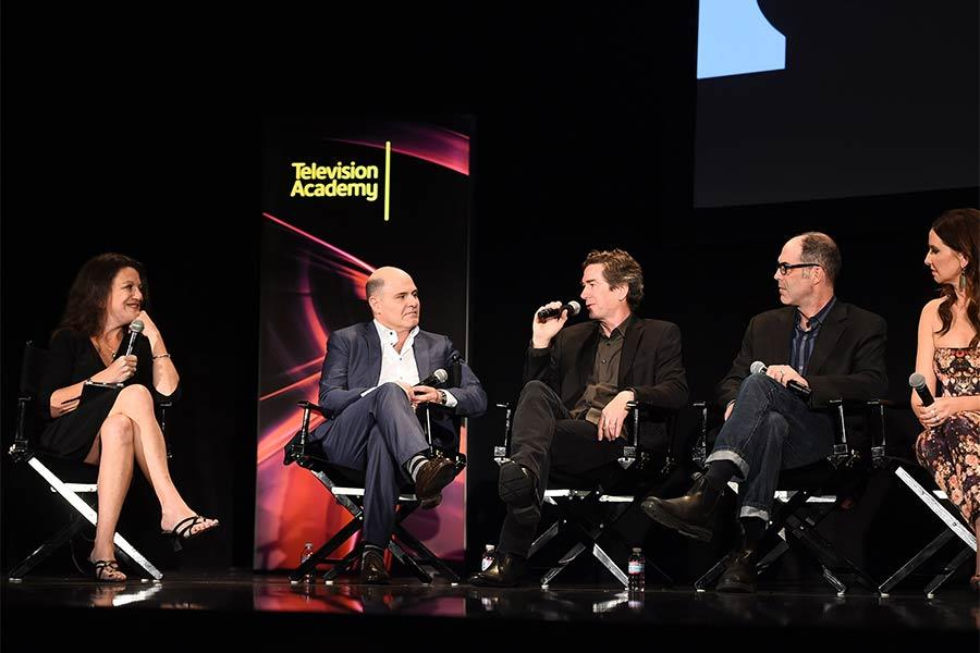 "Debra Birnbaum, Matthew Weiner, Dan Bishop, Chris Manley, and Janie Bryant onstage at ""A Farewell to Mad Men,"" May 17, 2015 at the Montalbán Theater in Hollywood, California."