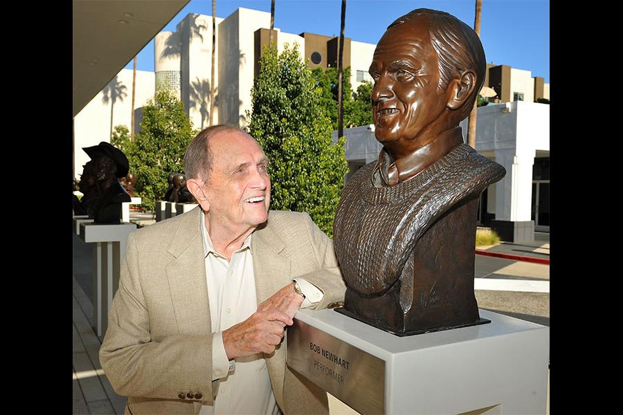 Newhart meets Newhart at The Rise of the Cerebral Comedy: A Conversation with Bob Newhart, presented Tuesday, Aug. 8, 2017, at the Television Academy's Wolf Theater at the Saban Media Center in North Hollywood, California.