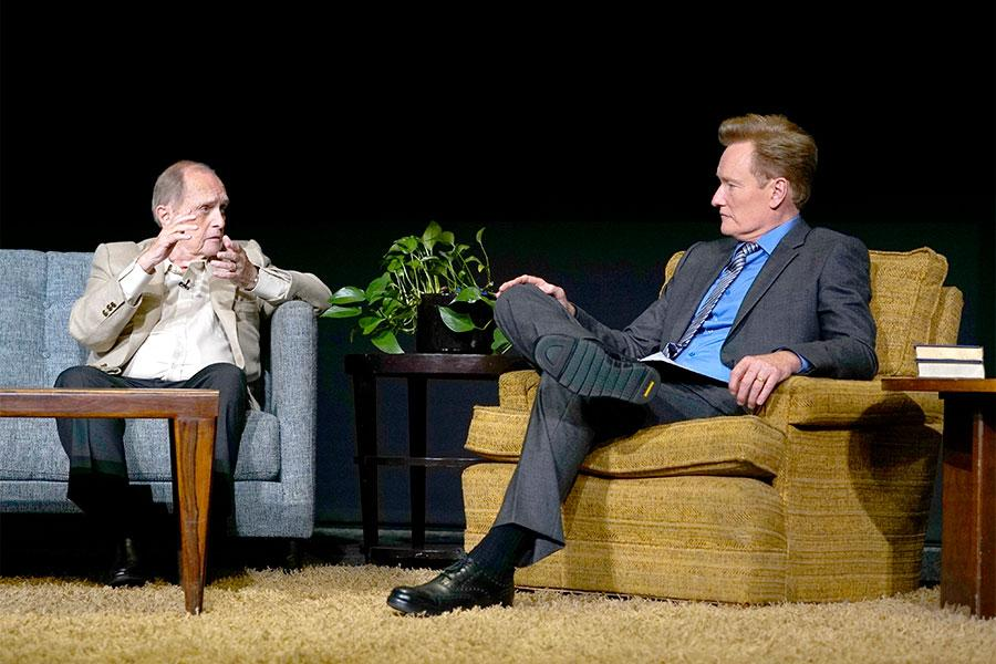 Bob Newhart and Conan O'Brien onstage at The Rise of the Cerebral Comedy: A Conversation with Bob Newhart, presented Tuesday, Aug. 8, 2017, at the Television Academy's Wolf Theater at the Saban Media Center in North Hollywood, California.
