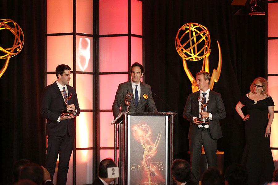 Brett Beaulieu-Jones, Alexander Loverde, and Jeffrey Impey at the 68th Engineering Emmy Awards, October 28, 2016 at Loews Hollywood Hotel in Los Angeles, California.
