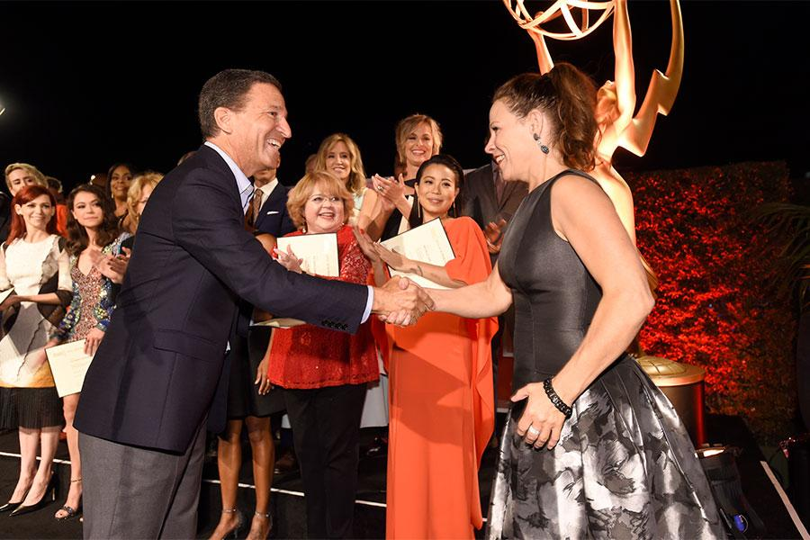 Television Academy chairman and CEO Bruce Rosenblum and Lily Taylor at the Performers Nominee Reception, September 16, 2016 at the Pacific Design Center, West Hollywood, California.