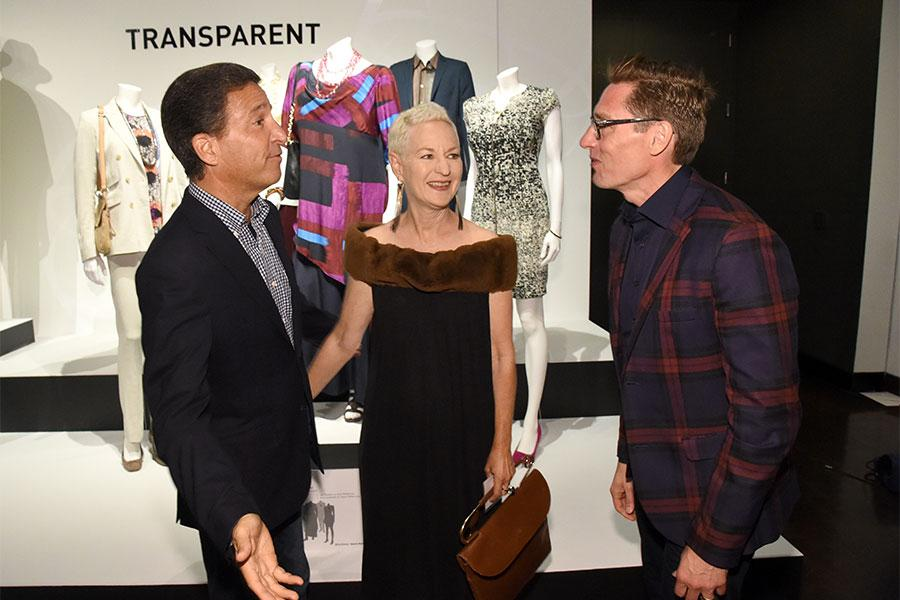 Television Academy president and CEO Bruce Rosenblum, Lou Eyrich, and Daniel Lawson at the 10th Annual Art of Television Costume Design Exhibition opening at the FIDM Museum & Galleries on the Park on Saturday, July 30, 2015, in Los Angeles.