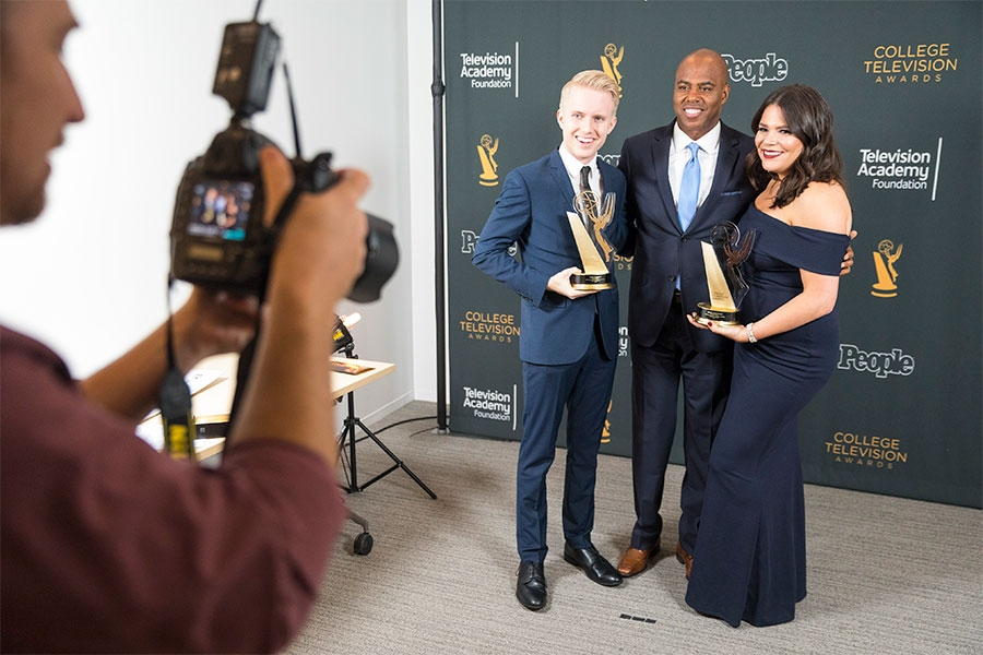 Kevin Frazier poses with winners at the 38th College Television Awards presented by the Television Academy Foundation at the Saban Media Center on Wednesday, May 24, 2017, in the NoHo Arts District in Los Angeles.