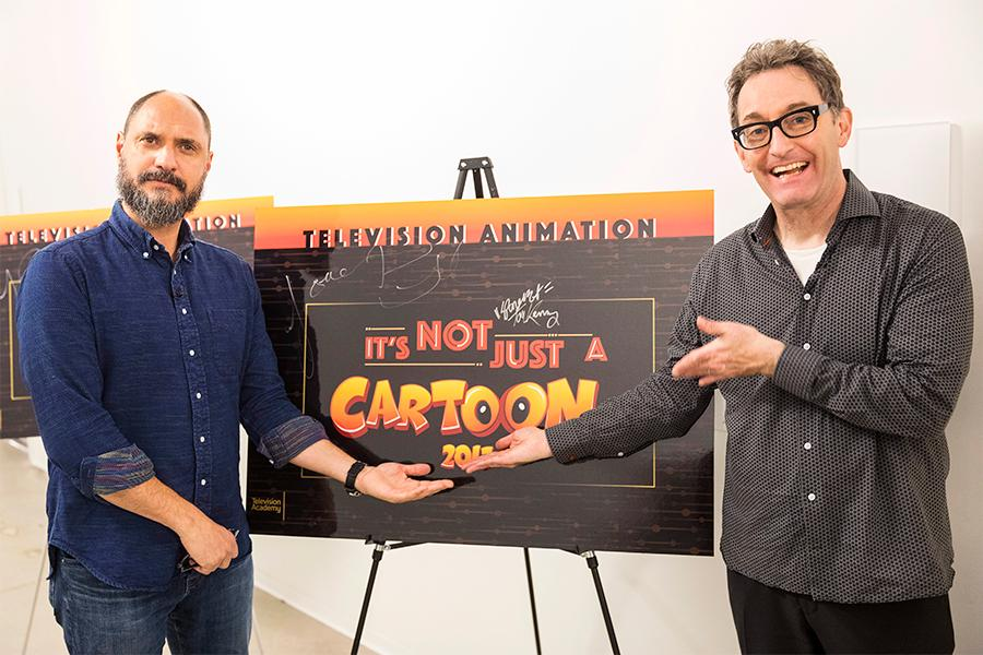 Bob's Burgers creator Loren Bouchard and Tom Kenny at It's Not Just A Cartoon! Animation Day, presented by the Television Academy for its members and their families on Saturday, November 11, 2017 at the Saban Media Center in North Hollywood, California.