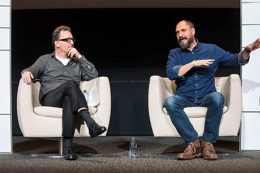 Tom Kenny and Bob's Burgers creator Loren Bouchard at It's Not Just A Cartoon! Animation Day, presented by the Television Academy for its members and their families on Saturday, November 11, 2017 at the Saban Media Center in North Hollywood, California.