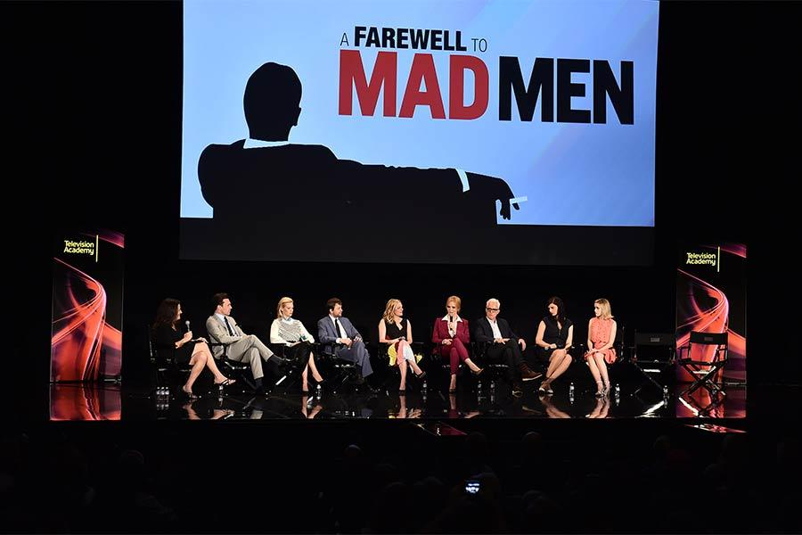 "The cast of Mad Men onstage at ""A Farewell to Mad Men,"" May 17, 2015 at the Montalbán Theater in Hollywood, California."