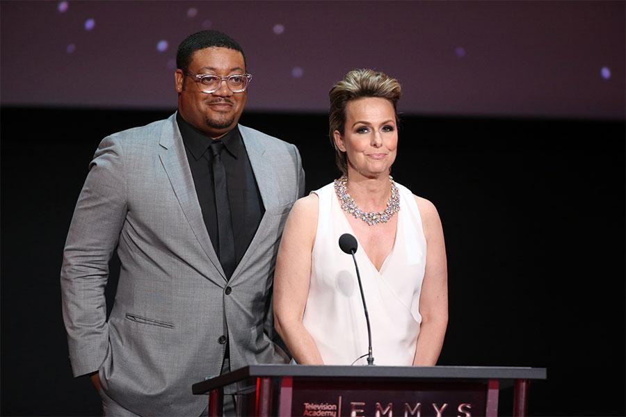Cedric Yarbrough and Melora Hardin at the L.A. Area Emmy Awards presented at the Television Academy's Wolf Theatre at the Saban Media Center on Saturday, July 22, 2017, in North Hollywood, California.