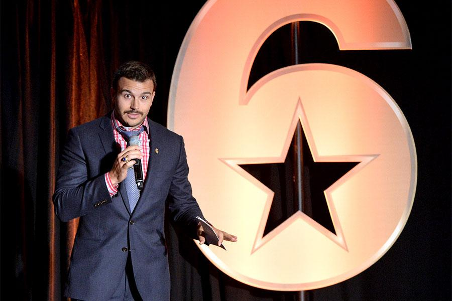 Charlie Ebersol speaks at the Got Your 6 Storytellers event, November 10, 2015, in Los Angeles, California.