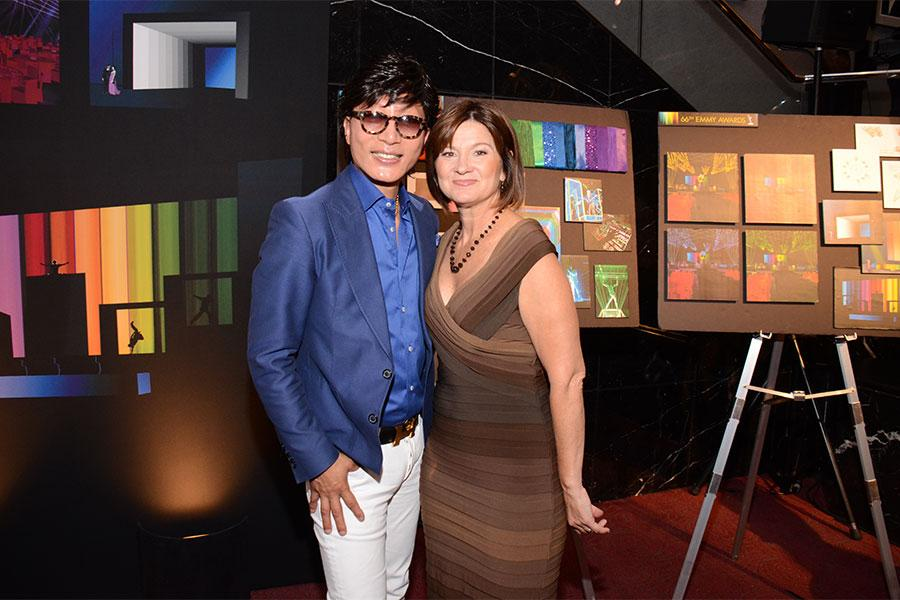 Sequoia Productions event producer Cheryl Cecchetto and Kevin Lee, founder/co-owner of floral design company LA Premier, at the Television Academy's 66th Emmy Awards Governors Ball Sneak Peek press preview.