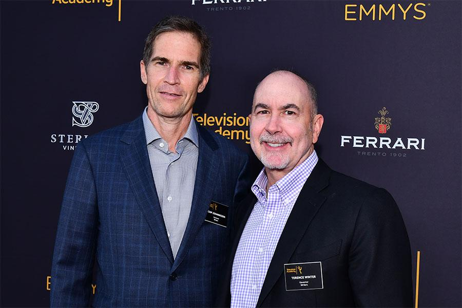 Television Academy governors Chip Johannessen and Terence Winter at the writers nominee reception, September 14, 2016, at the Saban Media Center in North Hollywood, California.