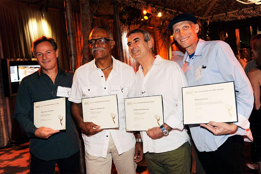 Christian LaFountaine, Donald Morgan, George Mooradian, and Brian Lataille at the Cinematographers/Electronic Production Nominee Reception in North Hollywood, California.