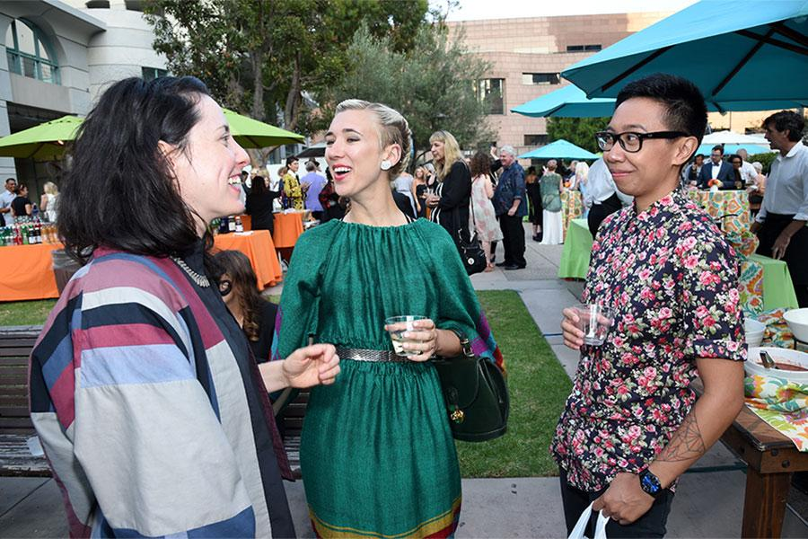Christina Frank, Becca Love, and Elizabeth Parawan at the 10th Annual Art of Television Costume Design Exhibition opening at the FIDM Museum & Galleries on the Park on Saturday, July 30, 2015, in Los Angeles.