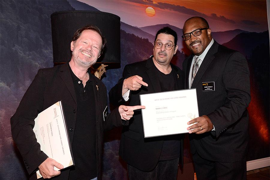 Chuck Sheetz, Russell Calabrese and Daniel Evans, III at the Animation and Children's Programming Nominee Reception in North Hollywood, California.