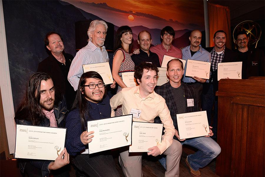 Chuck Sheetz and Russell Calabrese with the team from The Regular Show at the Animation and Children's Programming Nominee Reception in North Hollywood, California.