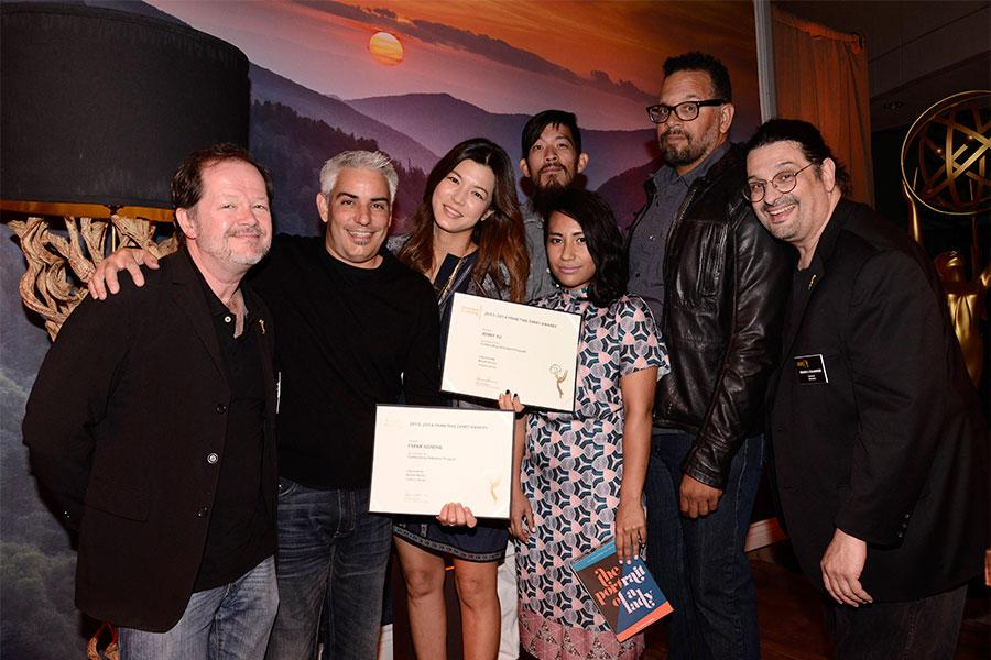 Chuck Sheetz and Russell Calabrese with the team from South Park at the Animation and Children's Programming Nominee Reception in North Hollywood, California.