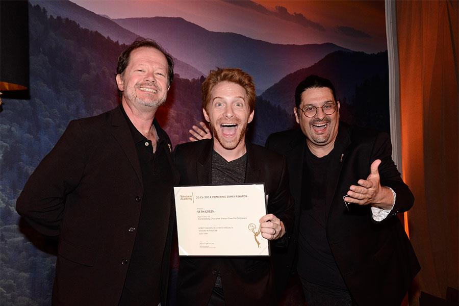 Chuck Sheetz, actor Seth Green, and Russell Calabrese at the Animation and Children's Programming Nominee Reception in North Hollywood, California.