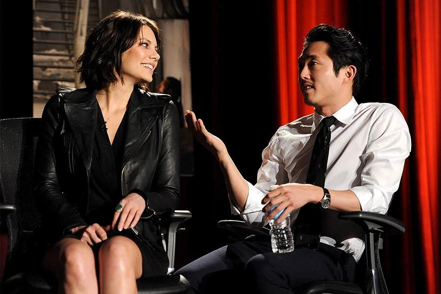 Lauren Cohan and Steven Yeun at An Evening with The Walking Dead.