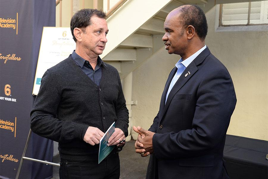 Col. Rob Gordon chats with a guest at the Got Your 6 Storytellers event, November 10, 2015, in Los Angeles, California.