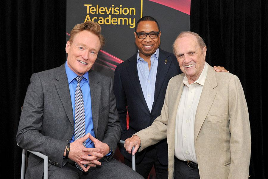 Conan O'Brien, Television Academy chairman and CEO Hayma Washington, and Bob Newhart at The Rise of the Cerebral Comedy: A Conversation with Bob Newhart, presented Tuesday, Aug. 8, 2017, at the Television Academy's Wolf Theater at the Saban Media Center i