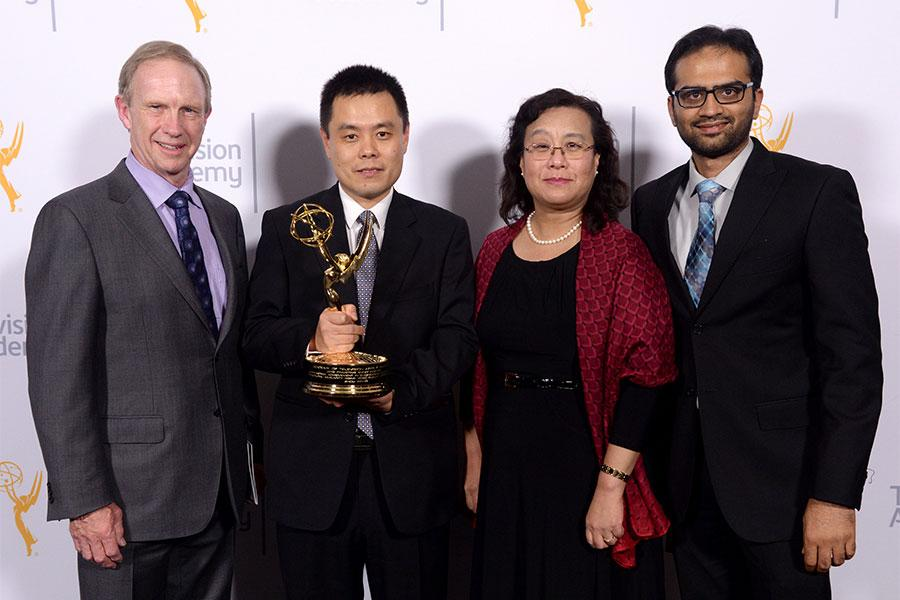 Richard Cook, Zhou Wang, Ling Loerchner, and Abdul Rehman at the 2015 Engineering Emmys at the Loews Hotel in Los Angeles, October 28, 2015.