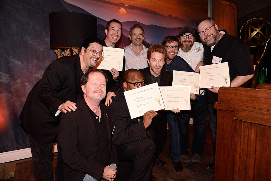 Chuck Sheetz, Russell Calabrese and the team from Robot Chicken at the Animation and Children's Programming Nominee Reception in North Hollywood, California.