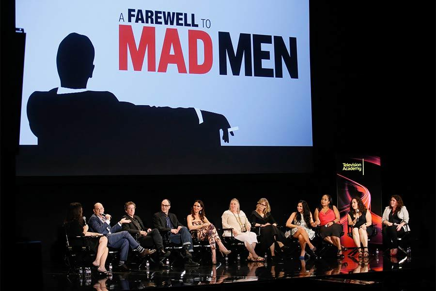 "Mad Men creator Matthew Weiner and the heads of the creative departments onstage at ""A Farewell to Mad Men,"" May 17, 2015 at the Montalbán Theater in Hollywood, California."